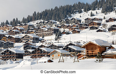 Mountain station in alps : Les saisies, Beaufort, Savoy