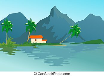 mountain - Illustration of a cliff of mountain with house...