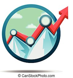 Mountain Stock market Icon Symbol Vector