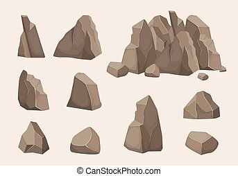 mountain stones. Nature collection of stones power symbols. vector creation kit of rocks elements