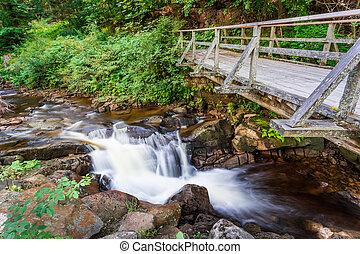 Mountain stream flowing under a wooden bridge