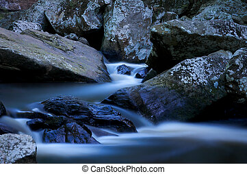 Mountain Stream - Forest stream flowing through rock bed in ...