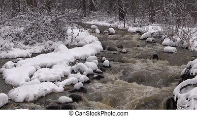 Mountain Stream in Winter
