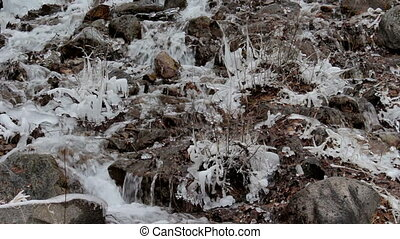 Mountain stream in winter forest. Close-up