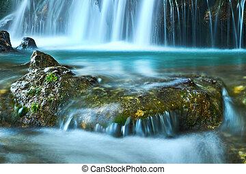 mountain stream near a waterfall