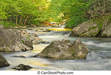 Smoky Mountains stream at sunset