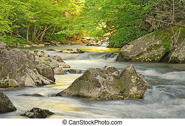 Mountain Stream - Smoky Mountains stream at sunset