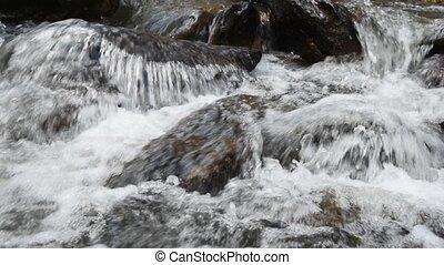 Mountain stream. - Beautiful waterfall, Mountain stream...