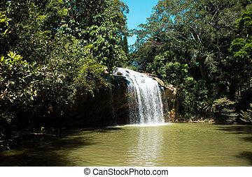 Mountain stream Waterfall Prenn, Vietnam, scenic natural swimming pool.