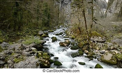 Mountain streams. Water ripples. Surface of the water. -...