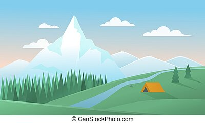 Mountain summer landscape vector illustration, cartoon flat peaceful mountainous nature scenery with tourist tent camp on green hill, pine forest and river background