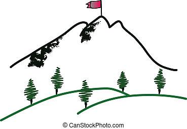 Mountain summit illustration on white