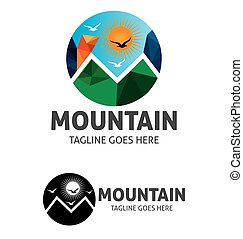 Mountain Sun Brid Vector Logo Template