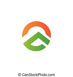 mountain sun gradient geometric logo vector