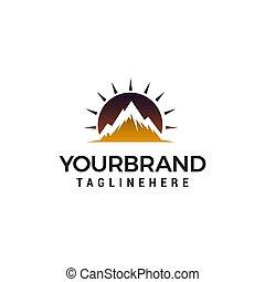 mountain sun logo design concept template vector