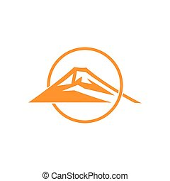 mountain sun overlapping flat monogram logo vector