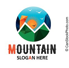 Mountain Sun Vector Logo Template