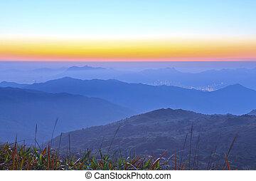 Mountain sunrise at dawn