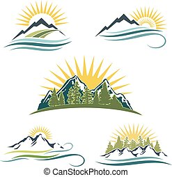Mountain sunrise, nature icon set. 5 different icons and...