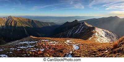 Mountain sunset autumn Tatra landscape, Slovakia