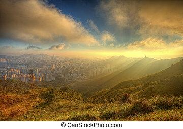 Mountain sunset in Kowloon, Hong Kong.