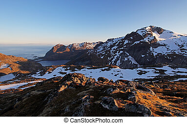 Mountain sunset panorama at autumn in Norway