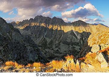 Mountain sunset panorama at autumn in Slovakia - High Tatras