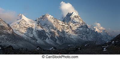 Mountain sunset panorama, Everest region, Himalayas, Nepal