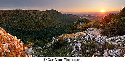 Mountain sunset panorama in Slovakia ( Small Carpathian)