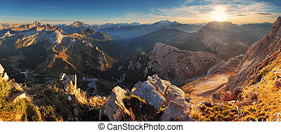 Mountain sunset panorama landscape - in Italy Alps - Dolomites