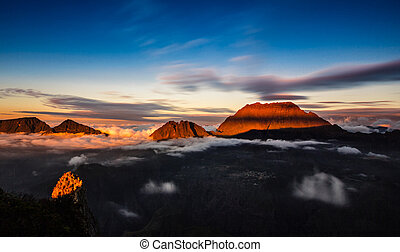 sunset on R?union island mountains.