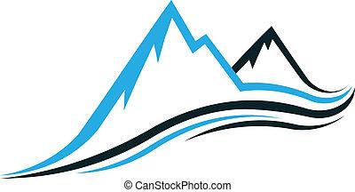 Peak mountain with swooshes