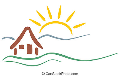 Mountain symbol - Symbol of house and mountains with sun in...