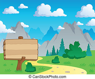 Mountain theme landscape 2 - vector illustration.