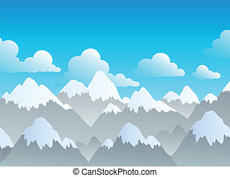 Mountain theme landscape 3 - vector illustration.