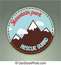 Mountain themed outdoors emblem