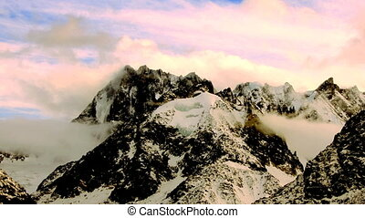 mountain timelapse in chamonix, french alps