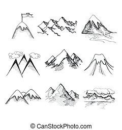 Mountain top icons - Hand drawn snow ice mountain tops...