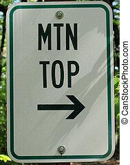 Mountain top sign