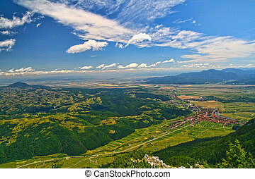 Mountain top summer landscape aerial view