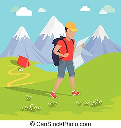Mountain Tourism Concept