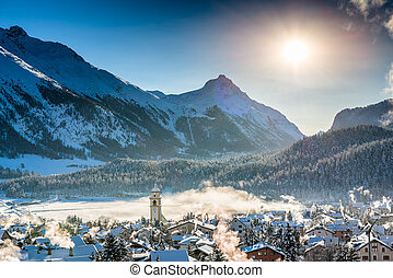 Mountain town in winter