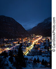 Mountain Town - Overlook of downtown Ouray in winter.