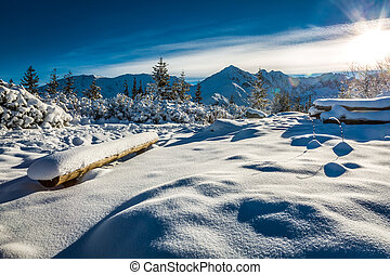Mountain trail covered with snow