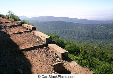 Mountain Trail - Hiking trail carved into the side of Flat...