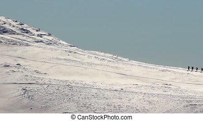 Mountain travel climb winter