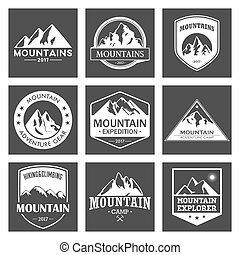 Mountain travel, outdoor adventures logo set. Hiking and climbing labels or icons for tourism organizations, events, camping leisure.