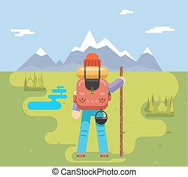 Mountain Travel Trip Vacation Backpaker Man Wood Staff Concept Flat Design Icon Forest Background Vector Illustration