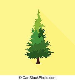 Mountain tree icon, flat style