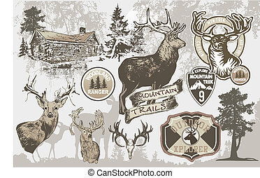 mountain trek - illustration for shirt printed and poster